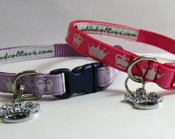 Princess Crown Dog Collar & Charm - narrow width for tiny dogs / puppies