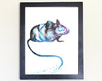 Mouse Galaxy Spirit Animal Watercolor Art Print 8x10