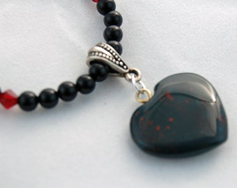 Obsidian Swarovski Crystal Natural Stone Heart Pendant Necklace