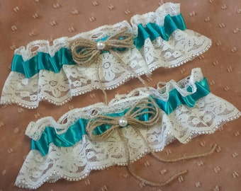 Teal Vintage Rustic Lace Wedding Garter Belt Set w/ Pearls & Burlap Twine Ivory Winter White Victorian