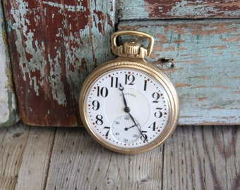 Antique Illinois Pocket Watch - Old Illinois Pocket Watch - Vintage Pocket Watch -  by avintageobsession on etsy - FREE USA Shipping