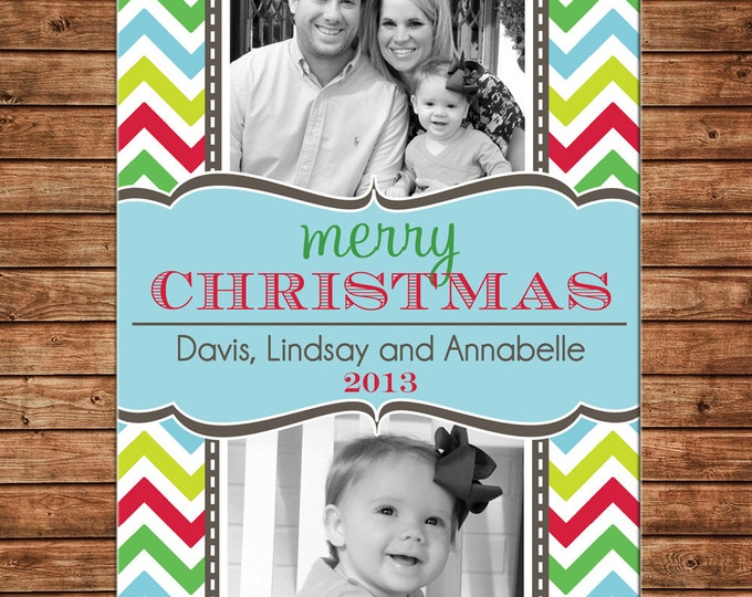 Christmas Holiday Photo Card Multi Chevron - Can Personalize - Printable File or Printed Cards