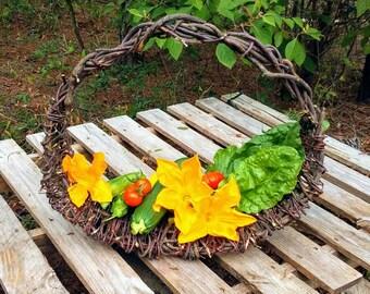 Handmade rustic garden basket wild vine woven one of a kind basket all natural unique flower basket