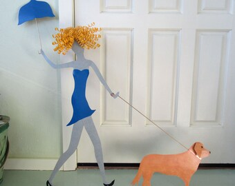 Large Metal Wall Art Golden Retriever Dog Decor Umbrella Lady Walking Dogs Recycled Metal Wall Art 36 x 36 Custom Request