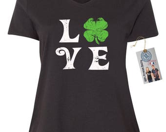 Love Shamrock Plus Size St. Patrick's Day V Neck T-Shirt