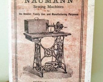 Vintage Sewing machine notebook, A5 jotter, antique illustration