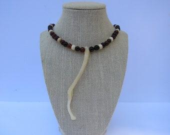 Raccoon Penis Bone Baculum Necklace Agate/Bone Beaded Jewelry Statement N237