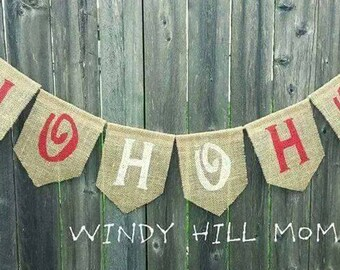 HOHOHO Burlap Banner Christmas Holiday Decoration