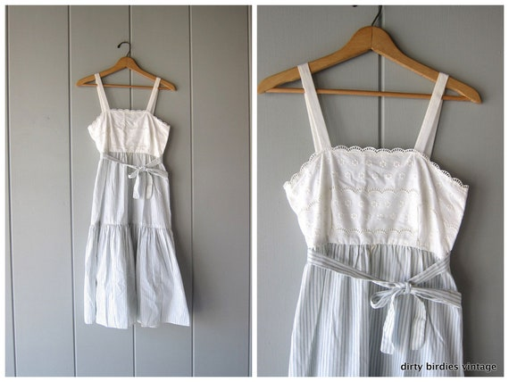80s Fairy Tale Dress Vintage White Eyelet Cotton Romantic Sundress Blue Striped Empire Waist Prairie Dress Summer Midi Dress Womens XS Small