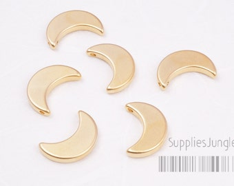 MB016-MG/Matt plaqué croissant de lune en métal perles d'or, 4 PC