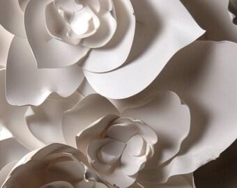 """11x14"""" White Petals Flower Fine Art Photo Print, paper sculpture"""