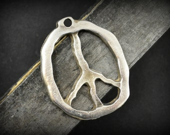 Peace sign pendant etsy peace sign pendant pewter 27x33mm large rustic peace sign pendant mykonos beads audiocablefo