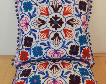 Boho Cushion Cover in Suzani Style with Floral Pattern. White, Red and Blue