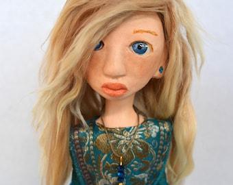 OOAK Art Doll, Sculpted Paper Clay Art Doll, Handmade Doll, Blonde Suri Angora Mohair, Zenda