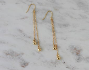 Gold Dangle Earrings - Ball Chain Earrings - Jewelry Gift for Mother - Long Chain Earrings - Gold Drop Earrings - Christmas Gift