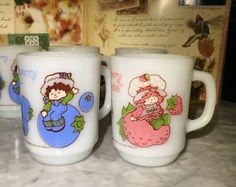 Huckleberry Pie and Strawberry Shortcake Set of Two Milk Glass Mugs