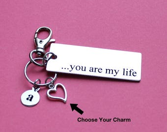 Personalized Love Key Chain You Are My Life Stainless Steel Customized with Your Charm & Initial - K979