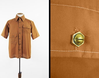 Vintage 70s The Nut Shirt Retro Menswear Manhattan Brown Sport Shirt - Size Large