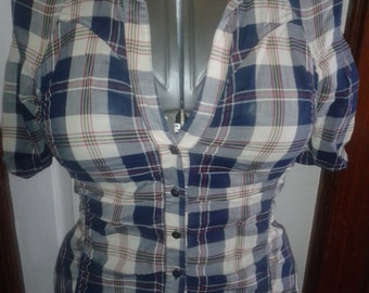 1990s Plaid Ruched Top- size S