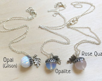 October Opal OR Rose Quartz Birthstone Necklace | Acorn Necklace | October Birthday Necklace |Gemstone Acorn Charm Necklace | Nature Jewelry
