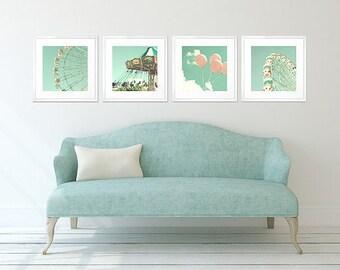 Nursery wall art, nursery decor, canvas art, boy nursery art, mint nursery wall decor, carnival art, ferris wheel, nursery prints set