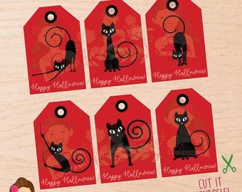 Halloween, Halloween tags, Halloween favor tags, kids halloween tags, Halloween party, Halloween black cat, Halloween treat tags, Black cat.