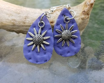 Lavender Leather & Daisy Drop Earrings