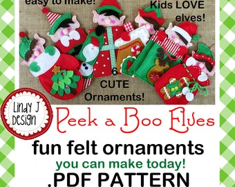 Peek a Boo ELF Felt ORNAMENTS .PDF Pattern