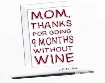 Muttertagskarte, einzigartige Weinliebhaber, lustige Geburtstagskarte für Mama, danke Ma, Tochter oder Sohn, Wein, Humor, Geburtstag, süße Mama