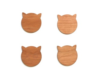 Wood Cat Coasters - Cherry Wood Coasters for Drinks - Cat Lover Birthday Gift