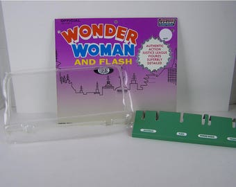 1966 Ideal Official Wonder Woman and Flash  Justice League of America figure set Display CARD, STAND,  clear BLISTER pack for your figures