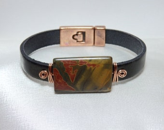 Leather Bracelet Metallic Green-Gold with Red Creek Jasper and Copper Wire
