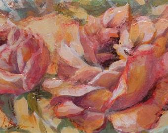 Acrylic painting on cardboard . Original Art. Roses-III. Small size.