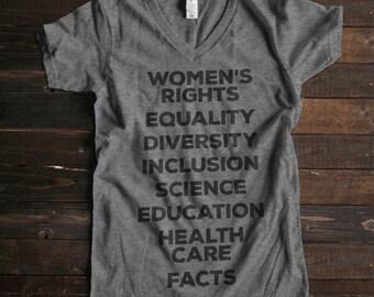 Womens Rights Shirt, Womens March Shirt, Womens V Neck, Fight for Womens Rights, Science Shirt, Political Shirt, Womens Tshirts, Nasty Woman