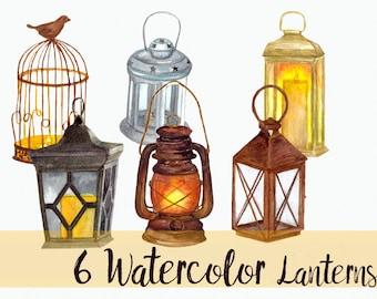 6 Hand-painted Watercolor Lanterns  - Clip Art Set