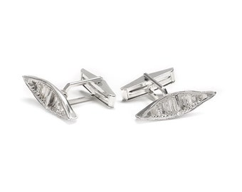 Sterling Silver Canoe Cufflinks