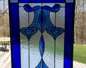 Blue on Blue Stained Glass Panel