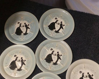 Vintage Mid-Century Set of 6 Painted Aluminum Coasters 1800s Gentleman & Lady Courting
