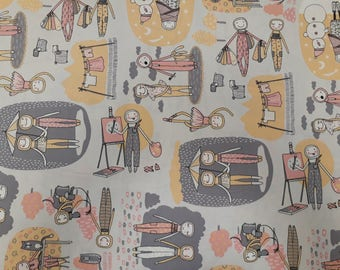 Fabric cotton beige grey yellow red people lifestyle cartoon Cotton Fabric Kids Fabric Scandinavian Design Scandinavian Textile