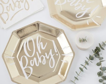 White & Gold Oh Baby Plates, Gold Baby Shower Plates, New Born Party, Baby Shower Tableware, Baby Shower Decorations, Gold Baby Shower