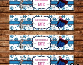 Frozen Birthday Water Bottle Label, Frozen Birthday, Disney Princess Water Bottle Label, Anna and Elsa Water Bottle Label