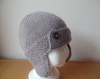 Hand knitted baby boys aviator/trapper hat, Mocha