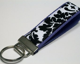 Fabric Key Fob, Key Chain, Key Ring, Key Holder, Wristlet Key Fob, Wristlet Keychain, Fabric Key fobs-Splash purple