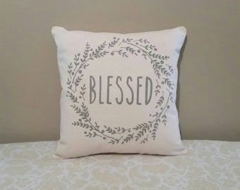 Blessed Pillow | Farmhouse Wreath Pillows | Farmhouse Decor Rustic Country | Pillows with Words | Pillows with Sayings