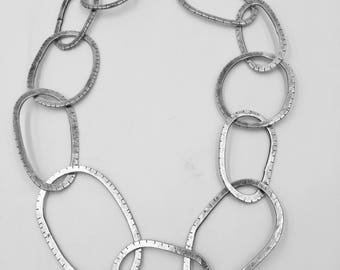 Sterling silver hand wrought oval link chain. Lisa Colby Metalsmith