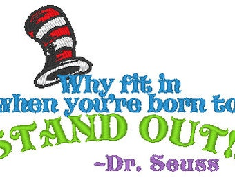 Dr. Seuss Embroidery Quote Machine Embroidery Design