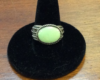 Sterling silver jade ring.  Size 9.