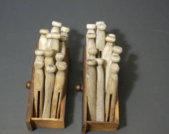wooden clothespins 24 weathered old clothespins with 2 wooden drawers Laundry Pins Wood Clothes Pegs rustic laundry room decor craft supplie