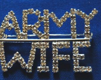 Rhinestone Bling ARMY WIFE pin