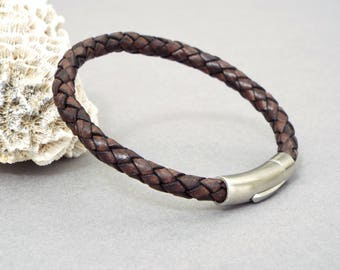 Leather Bracelet for Men, Braided Bracelet, Husband Gift, Men's Jewelry, Gift for Him